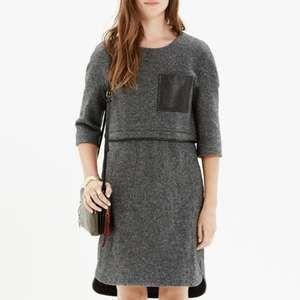 Madewell XL Dress Leather Pocket Wool Midi Layered